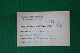 INGRESSO CIRCOLO VILLA TESORIERA - TORINO  - 1972 - Altri