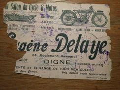 Buvard En Mauvais état, Eugène Delaye, Au Salon Du Cycle Et Motos à Digne, Mathis, Automoto, Payan, Peugeot - Transport