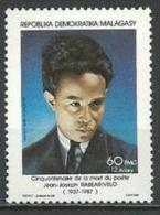 "Madagascar YT 815 "" Poète : Jean-Joseph Rabearivelo ""1987 Neuf ** - Madagascar (1960-...)"