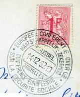 BELGIQUE BELGIE   Obliteration Conference Europeenne Sur La Securite Sociale  Bruxelles 14.12.1962 - Belgio