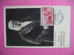 Carte-Maximum    N°1017 Louis-Maurice-Hilaire De Bernigaud, Comte De Chardonnet (soie Artificielle) 1955 - Maximumkarten