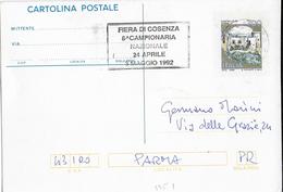 """ANNULLO A TARGHETTA """"FIERA DI COSENZA..."""" 1992 ORNAGHI 3351 UFF. COSENZA SU INTERO POSTALE - 1991-00: Poststempel"""