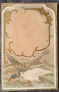 Litho CHROMO Dorure ART NOUVEAU Precurseur ILLUSTRATEUR Style Kirchner ? Estampe Japonaise Oiseau Canard En Vol - Illustrateurs & Photographes