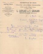 69 BRIGNAIS FACTURE 1921 Expédition Fruits Légumes LAPLACE & FRANJON  -  Z18 - France