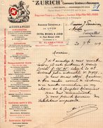 VP9443 - Lettre - Cie Générale D'Assurances ¨ ZURICH ¨ à PARIS Rue Pillet - Will ,  LYON & BELLEVILLE SUR SAONE - Bank & Insurance