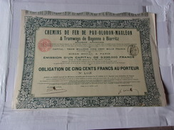 CHEMINS DE FER DE PAU OLORON MAULEON & Tramways De Bayonne A Biarritz (1908) - Acciones & Títulos
