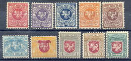 LITHUANIA 1919 Arms Definitive Set With Upright Watermark LHM / *.  Michel 30-39 - Lithuania