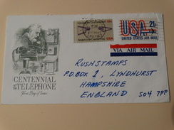 FDC - Centennial Of The Telephone(Alexander Bell)- U.S.A  Vers L'Angleterre Par Avion - Telecom