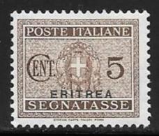 Eritrea, Scott # J15 Mint Hinged Italy Postage Due Stamp Overprinted,1934 - Erythrée