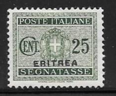 Eritrea, Scott # J18 Mint Hinged Italy Postage Due Stamp Overprinted,1934, Thin - Erythrée