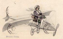 [DC9835] CPA - CARTOLINA FRANCESE RAFFIGURANTE UNA DONNA CHE PILOTA UN AEREO  - Viaggiata 1912 - Old Postcard - ....-1914: Precursori