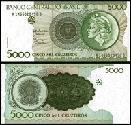 Brazil 5000 CRUZEIROS Sign 28 P 227 UNC (Brazil,Brasilien,Brésil, Brasil) - Bhoutan