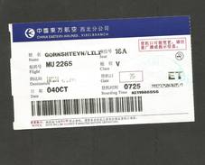 Airline PASSENGER TICKET 2009 Boarding Pass CHINA EASTERN AIRLINES XIBEI BRANCH HGH - Boarding Passes
