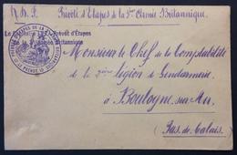 Env Franchise Militaire En-tête Prévôté 3e Armée Britannique + Cachet Id Vers Boulogne Sur Mer Gendarmerie Aux Armées - Marcophilie (Lettres)