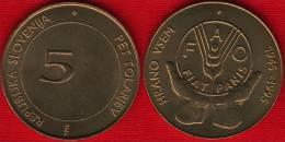 """Slovenia 5 Tolarjev 1995 Km#21 """"50th Anniversary - F.A.O."""" FAO UNC - Slovenië"""