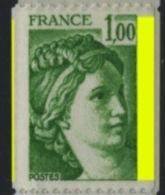 """FRANCE - -  1,00 VERT SABINE """"1 PHO À DROITE ET UN FILET À GAUCHE"""" -  N° Yvert 1981A** - 1977-81 Sabine Van Gandon"""