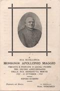 Santino Per Il 10° Anniversario Morte Mons. Apollonio Maggio, Vescovo Di Ascoli Piceno, Piazzola Sul Brenta Padova 1937 - Santini