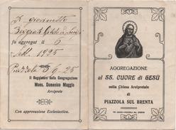 Santino Tessera Dell'Aggregazione Al Santissimo Cuore Di Gesù, Chiesa Arcipretale Di Piazzola Sul Brenta (Padova) 1925 - Santini