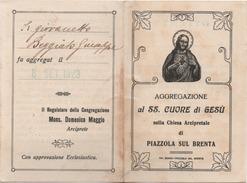 Santino Tessera Dell'Aggregazione Al Santissimo Cuore Di Gesù, Chiesa Arcipretale Di Piazzola Sul Brenta (Padova) 1923 - Santini