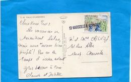 """MARCOPHILIE- Carte Postale-ANDORRE -non Oblitérée Au Départ -Arrivée- Cachet Linéiare""""13 MARSEILLE R HONNORAT"""" Années 70 - Marcophilie (Lettres)"""