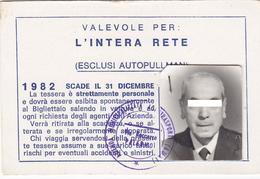 PALERMO  /  TESSERA  DI ABBONAMENTO -  CIRCOLAZIONE GRATUITA PER L'INTERA RETE  _ Anno 1982 - Abbonamenti