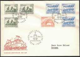 FDC 1/12 1956 Sveriges Järnvägar 100 år *VINJETT* - FDC