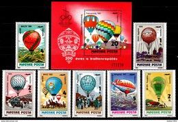 Hungary 1983 Ungarn Mi 3600-3606+Block162(3607), 200 Years Of Aviation. Balloons / 200 Jahre Luftfahrt - Montgolfières