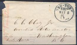 1853 , ESTADOS UNIDOS , SOBRE CIRCULADO ENTRE NUEVA YORK Y WASHINGTON , FECHADOR NEW - YORK / SHIP , AL SENADOR C.C.CLAY - …-1845 Vorphilatelie