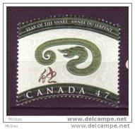 Canada, 2001, #1883, Nouvel An Chinois, Année Du Serpent, Reptile, Year Of The Snake, Chinease New Year - 1952-.... Règne D'Elizabeth II