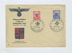 1942 Bes. 2. WK  Böhmen + Mähren FDC R- Schmuckbrief  Rs. Abklatsch 3. Jahrestag Des Protektorats Mi 83, 84 SST Prag - Occupation 1938-45