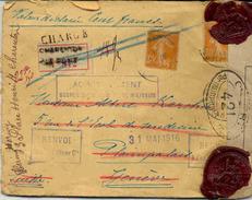 Lettre Chargée Avec étiquette De Censure + Cachets De Cire Ministère De La Guerre