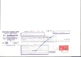 Ref 22/ 13, Marseille, Etablissements Garoutte, Verreries Et Faiences, 1966, Pour Roquevaire - Banque & Assurance