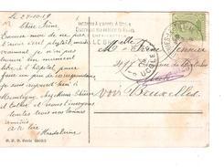 TP 137 S/CP Fantaisie C.Montignies-Le-Tilleul 29/10/1919 V.Uccle Griffe C.bilingue Inconnu...c.d'arrivée PR4201 - Postmark Collection