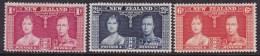 New Zealand 1937 Coronation Sc 223-25 Mint Hinged - Unused Stamps