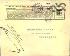 """1911, Postage Free Letter (""""""""Franchise De Port"""""""") From Institut International De Bibliographie BRUXELLES"""""""" - Non Classés"""