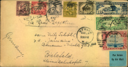 1929, Rich Franked Envelope From NEWARK With Friedrichshafen Arrival On Back. - Zeppelins