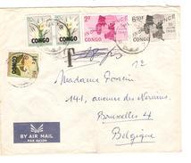 TP 376-379-384(2)-383 S/L.Avion C.Pweto 11/6/1964 Taxée 18 Frs Griffe T Puis Barrée V.Belgique PR4205 - República Del Congo (1960-64)