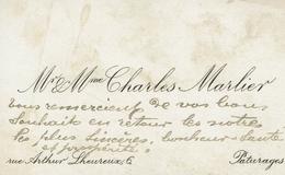 PATURAGES-CARTE DE VISITE CHARLES MARLIER-rue Arthur Lheureux 6 - Cartes De Visite