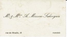 AUVELAIS-CARTE DE VISITE MISSON-SALINGROS-rue Du Moulin 18 - Cartes De Visite