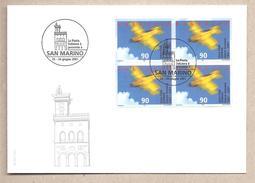 Svizzera - Busta Con Quartina E Con Annullo Speciale San Marino 2001: 100° Dell'Aero Club - 2001 - Svizzera