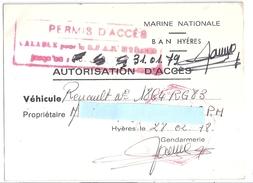 MARINE NATIONALE -BAN HYERES  1978-PERMIS D'ACCES-AUTORISATION D'ACCES - Mapas