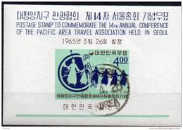 Tanz 1965 Korea Block 202 O 5€ Pacific Tourismus PATA Tabo-Pagode M/s Travel Map Bloc Girl Sheet S/s Bf South-Corea - Korea, South