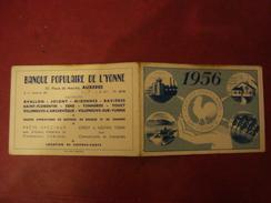 Calendrier BANQUE POPULAIRE DE L'YONNE 1956 AUXERRE - Petit Format : 1941-60