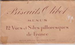 Pochette 12 MENUS 11X19.5 Biscuits OLIBET Sur Chaque Menu:1 Sorte De Biscuit + 12 Vues Et Sites Touristique Différents - Menus