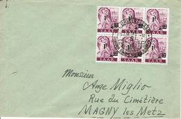 SARRE - Lettre Ingbert 8 Mars 1948 Bloc De 6 N°218 Pour Magny Les Metz - 1947-56 Occupazione Alleata