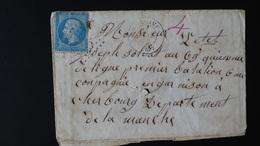 Enveloppe - 20c Bleu Napoléon III N°22 - Année 1865 - 1849-1876: Classic Period