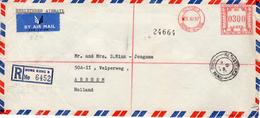 1957 Registered Airmail Envelope  From VICTORIA  HONG KONG B  To Arnhem - Hong Kong (1997-...)