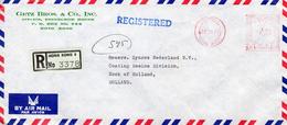 1974 Registered Airmail Envelope  From VICTORIA  HONG KONG 3  To HOOK OF HOLLAND - Hong Kong (1997-...)