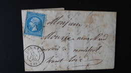 Lettre Enveloppe - GC 1143 Sur 20c Bleu Napoléon III N°22 - Année 1865 - 1849-1876: Classic Period