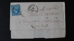 Lettre Enveloppe - 20c Bleu Napoléon III N°22 - Année 1865 - 1849-1876: Classic Period